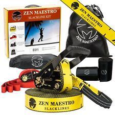 Zen Maestro Slackline Kit 65ft With Tree Ratchet Protectors & Training Line