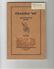 """1929 Chrysler """"65"""" Original Owners Manual with Foldout Lube Chart"""