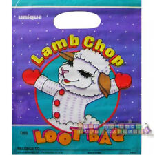 LAMB CHOP PLASTIC FAVOR BAGS (8) ~ Vintage Birthday Party Supplies Loot Treat