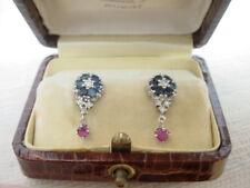 Vintage Blue Sapphire Ruby Diamond Earrings