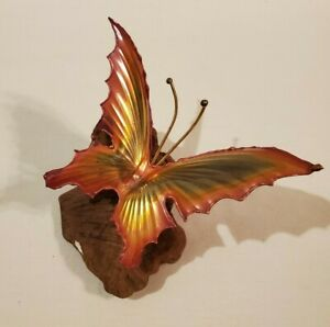 Metal Art Butterfly on Driftwood or Petrified Wood Stand