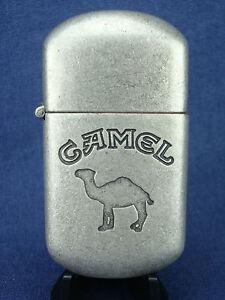 NOS 1997 Joe CAMEL Cigarette LIGHTER. Brushed Metal, Flip Top. Mint / Old Stock