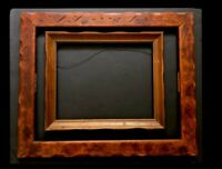 Frame Picture Scalloped Wood Carved 20x24 & 13.5 x16.5 Pr Vtg Mid Century Rustic