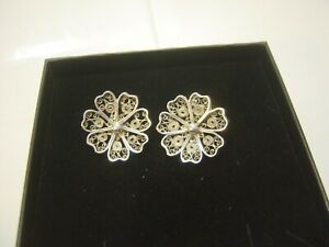 VINTAGE STUNNING FILAGREE SOLID SILVER EARINGS CLIP ONS HAND MADE CLEANED