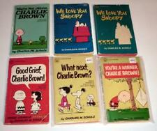 Lot of (6) PB Books by CHARLES SCHULTZ: Snoopy, Charlie Brown, etc. VINTAGE