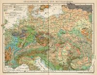 B6379 Central Europe geological map - Carta geografica antica del 1904 - Old map