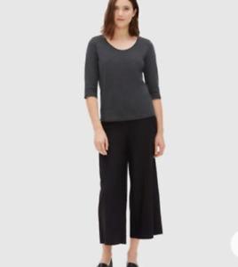 NWT Eileen Fisher XL Graphite Ballet Neck  Cotton Top