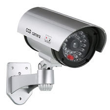 1x Fake Dummy Bullet Security Camera Wireless Silver In/Outdoor Flashing RED Led