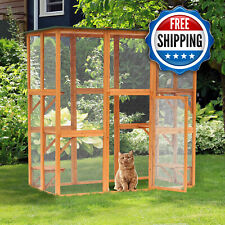Wooden Cat Pet House Playhouse Shelter Cage Enclosure - Outdoor 6 Platforms