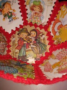 Vintage Christmas Card Crocheted Bowl-Red Yarn-Hummel/H Bobbie/Kids etc-MINT