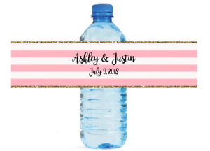Pink & White Striped with Gold Border Wedding Anniversary Water Bottle Labels