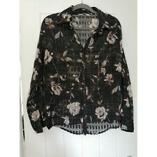Amaranto Floral Sheer Long Sleeve Blouse Size 18