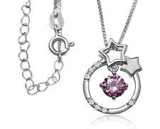 Collier aus 925 Silber Anhänger rund Sterne rosa Stein Halskette Venezianerkette
