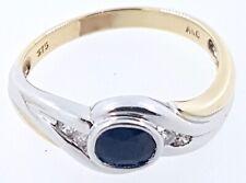 9k two tone Australian Sapphire and Diamond RING_375 gold