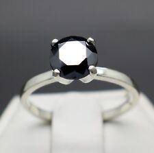 1.48cts 7.5mm Real Natural Black Diamond Engagement Ring AAA Grade & $940 Value