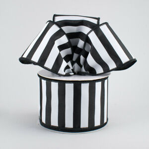 "Black & White Vertical Stripe 2.5"" Wire Edge Ribbon*Christmas*Railroad*2 LENGTHS"