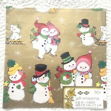 VTG Tie Tie Christmas Gift Wrap Wrapping Paper Snowmen Ice skating Gold NOS