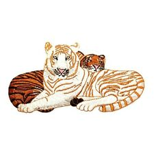 Id 0658 Wild Animal White & Bengal Tiger Cat Embroidered Iron On Applique Patch