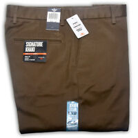 DOCKERS D2 MEN TROUSERS ORIGINAL SIGNATURE KHAKI STRAIGHT FIT FLAT FRONT PANTS