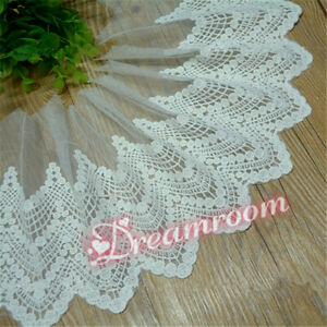 1yd Cotton Round Dot Embroidery Tulle Lace Edge Trim Ribbon Fabric Sewing BF331