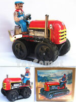 MS356 Vintage Tractor Retro Clockwork Wind Up Tin Toy w/Box