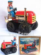 MS356 Vintage Tractor Retro Clockwork Wind Up Tin Toy w/Box