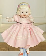 """Antique 6.5"""" Bisque Doll Jointed arms/legs In A Beautiful Dress Signed Nippon"""