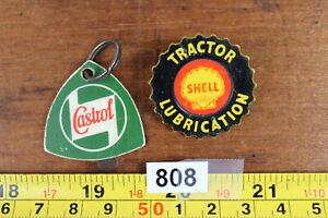 vintage castrol key fob keyring & shell tractor lubrication badge petroliana 808