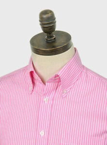 Art Gallery Clothing - Short Sleeve Fitted Shirt - Pink Stripe M Mod Sixties