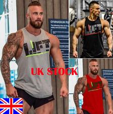 UK Men Gym Singlet Tank Top Tee Stringer Bodybuilding Y-Back Muscle Fitness Vest