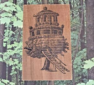 Elaborate Tree House HAND MOUNTED Wood Rubber Stamp Cabin Loft Architecture