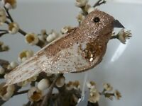 Gisela Graham Gold Glitter Bird on a Clip Christmas Decoration (2 asst) 9cm