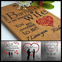 Personalised Birthday For Wife Husband Card Present 21 30th 40th 50th 60th Gift