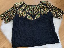 Vintage Womens Pure Silk Beaded Top Larger Size See Measurements Black And Gold