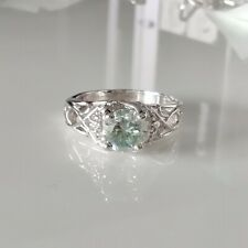Vintage 925 Sterling Silver Ring Size 6.75 7mm Off white Blue Moissanite 4 Prong