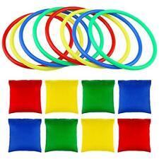 Auihiay 16PCS Multicolor Nylon Bean Bags Plastic Toss Rings for Kids Ring Toss G