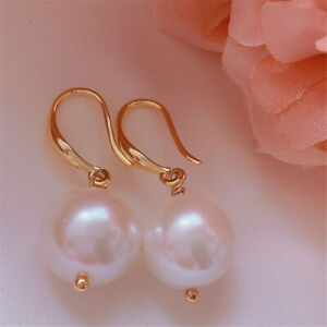 12MM white baroque Shell pearl earrings 18KGP Holiday gifts Women Dangle Gift