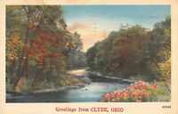 Greetings from Clyde, Ohio Scenic River Vintage 1950 Postcard A01