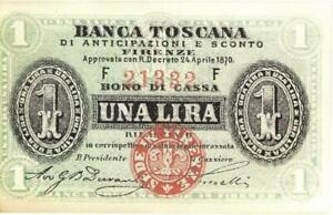Italy 50 Centesimi Banca Toscana Currency Banknote 1870  CU