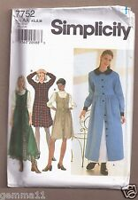 SIMPLICITY PATTERN 7752 DRESS JUMPER PETTICOAT SIZE XS,S,M