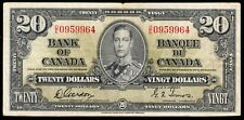 1937 Bank of Canada $20 Bank Note - Fine/VF - Gordon Towers 0959964 - CE08