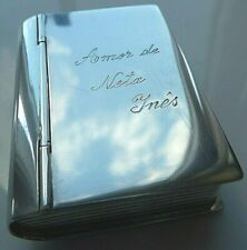 """Antique Portuguese  Silver Large """"Book"""" Pill/Snuff box Fully Hallmarked."""