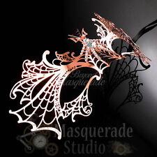 Womens Dragon Inspired Filigree Laser-Cut Venetian Masquerade Mask [Rose Gold]