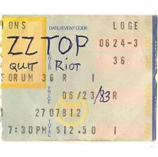 Zz Top & Quiet Riot Concert Ticket Stub Los Angeles Ca 6/24/83 Forum Eliminator