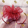 10 BURGUNDY VOILE ROUND FAVOUR WRAPS BAG WITH SPARKLY IRIDESCENT DOTS APROX 29CM