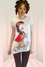New Pure Cotton White Short Sleeve Top Girl Pattern Size S