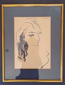 Signed Earl Kerkam framed ink paper, female portrait INV2618