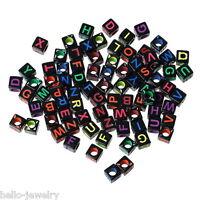 500 Neu Mix Acryl Perlen Beads Würfel Gravur Buchstaben Schwarz 6mm