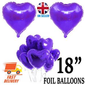 "PURPLE 18"" HEART Shape Foil Helium BALLOON Valentine Wedding Engagement Love"