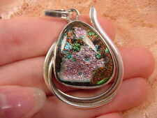 (#D-301) DICHROIC Fused GLASS silver Pendant PINK ORANGE GREEN